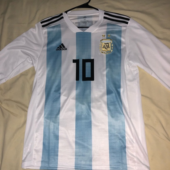 detailed look 7cf88 dee94 #10 Lionel Messi long sleeve Argentina jersey